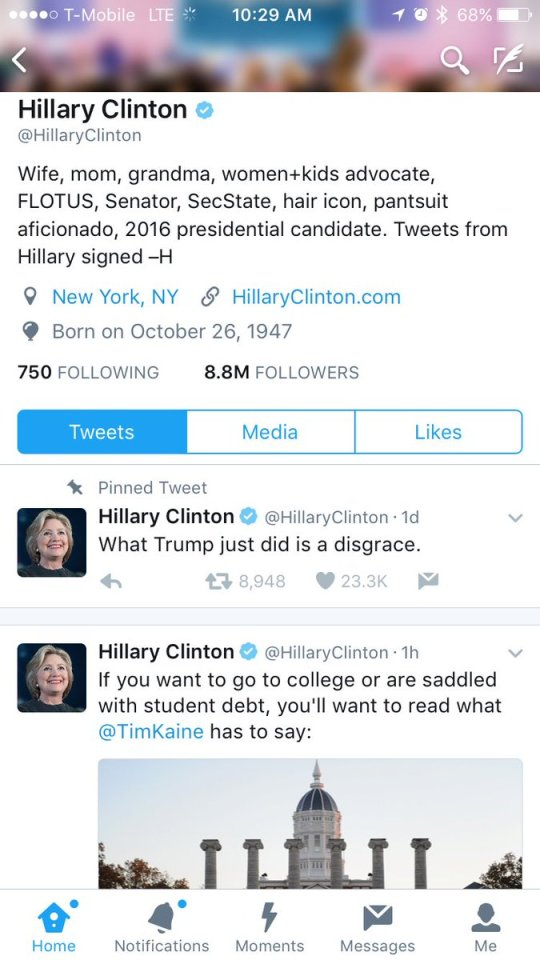 """Hillary Clinton's Twitter profile, with a pinned Tweet reading """"What Trump just did is a disgrace."""""""