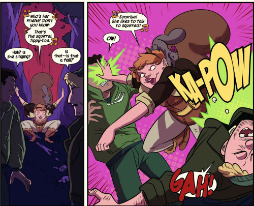 """Two panels of the  Squirrel Girl  comic. In the first, Squirrel Girl (in costume, with her tail out, accompanied by the actual squirrel Tippy-Toe) drops out of a tree in front of two bad guys singing (presumably to the  Spider-Man  tune) """"Who's her friend? Don't you know: that's the squirrel, Tippy-Toe."""" The bad guys react: """"Huh? Is she singing?"""" """"Is that—is that a  tail ?"""" In the next panel, Squirrel Girl punches the bad guys, who react with """"OW!"""" and """"GAH!"""" She sings, """"Surprise! She likes to talk to squirrels!"""""""