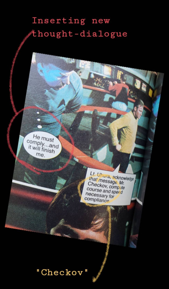 """An image of the Star Trek fotonovel for  Amok Time  highlighting a misspelling (""""Checkov"""" for """"Chekov"""") and the fact that they've added thought-dialogue."""