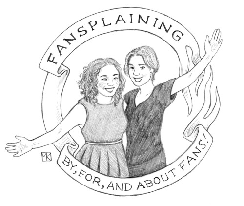 """An illustration of Flourish and Elizabeth with the words, """"Fansplaining: By, For, and About Fandom."""""""