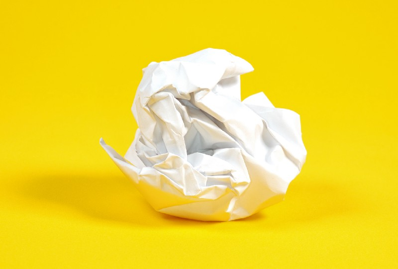 A balled-up sheet of white paper.