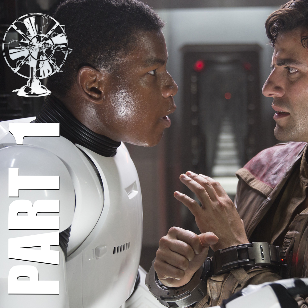 Episode 22A's cover: Finn, in his stormtrooper uniform, speaks with Poe.