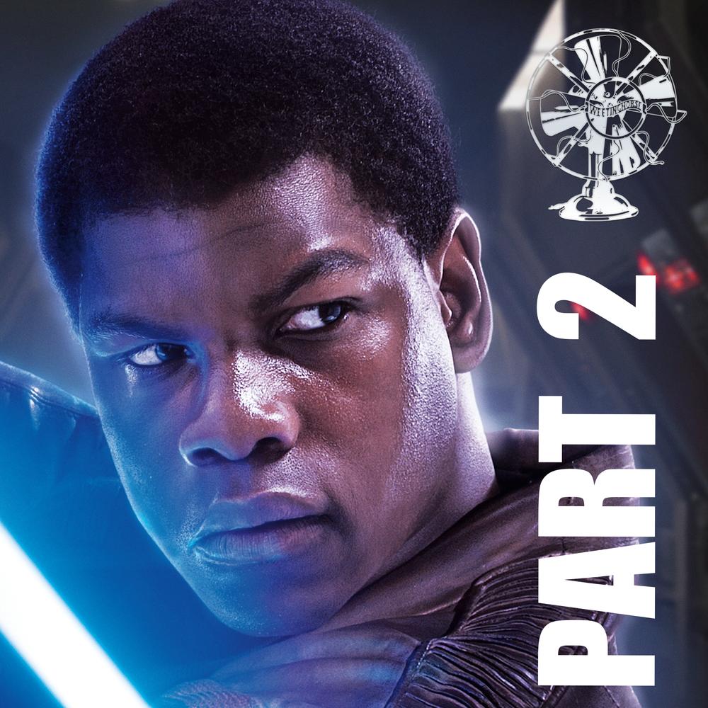 Episode 22B's cover: Finn holding a lightsaber.