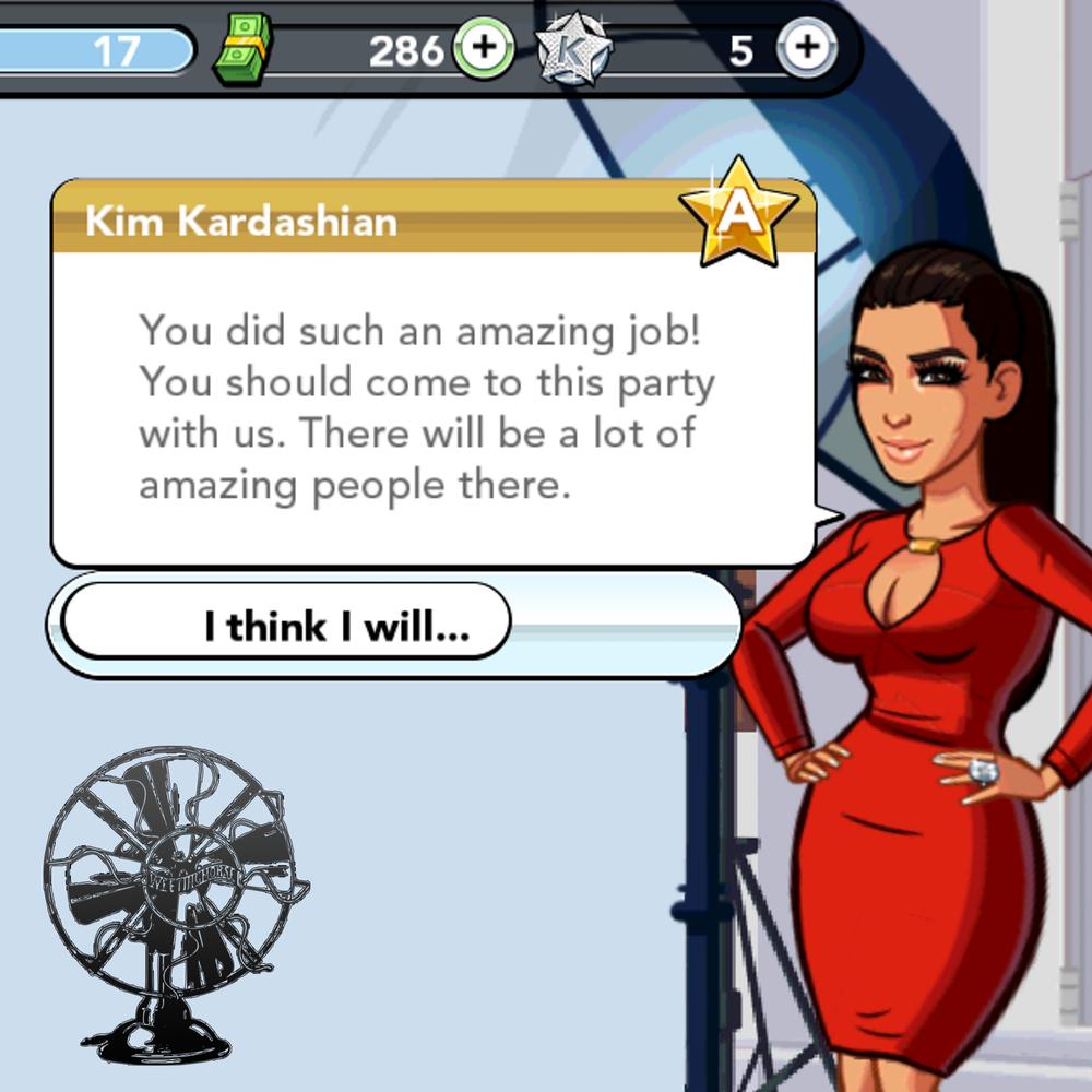 Episode 24's cover: a screenshot from Kim Kardashian's mobile game.