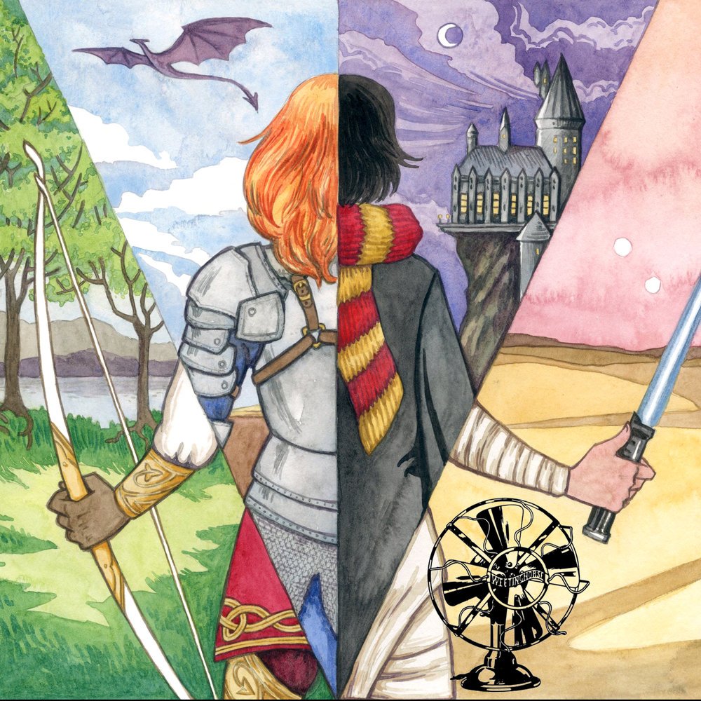 Episode 44's cover: an illustration in which a girl stands facing away from the viewer. She is seen as through a prism in different outfits: as an archer in a Celtic forest, a knight with a dragon flying above, a student approaching Hogwarts Castle, a Jedi holding a lightsaber.