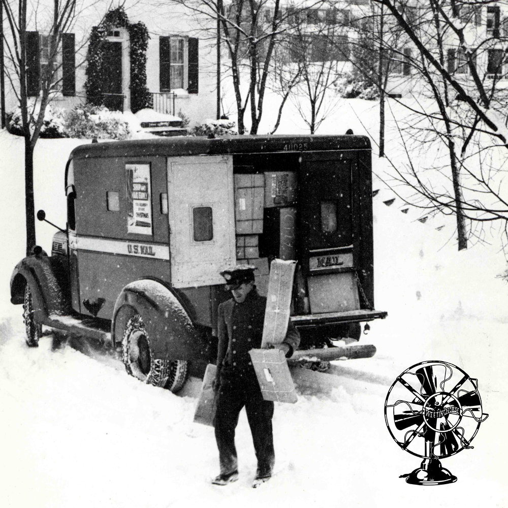 Episode 92's cover: an old photo of a mail carrier delivering packages through the snow.