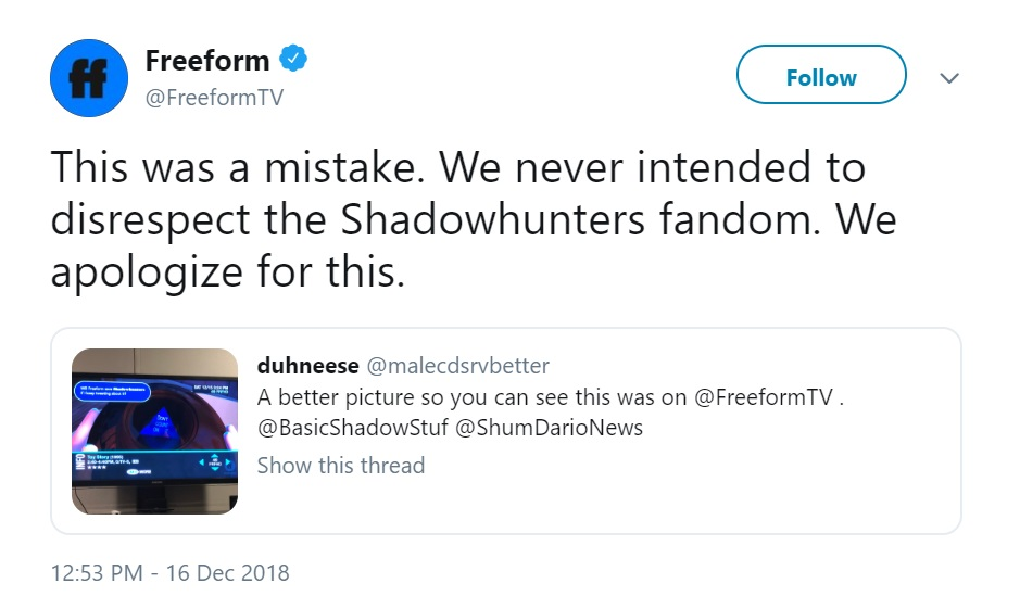 """Freeform's official Twitter tweets (in response to someone sharing the Toy Story flub): """"This was a mistake. We never intended to disrespect the Shadowhunters fandom. We apologize for this."""""""