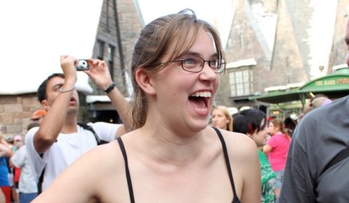 Flourish reacts with joy at seeing Hogwarts Castle.
