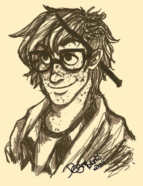 A sketch of Harry, with freckly face and a wand behind his ear.