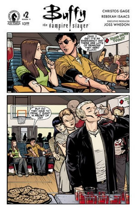 """A page from the Buffy comic. Xander and Faith are giving blood. Xander says, """"Okay, I get it's an emergency and there are lots of reasons they need blood."""" The second panel pulls out and shows a line of vampires, led by Spike, waiting to get blood in punch cups. Xander continues, """"But do they have to drink it right in front of us?"""""""
