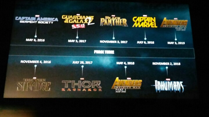 The original slide of the Phase 3 plan, as revealed by Kevin Feige.