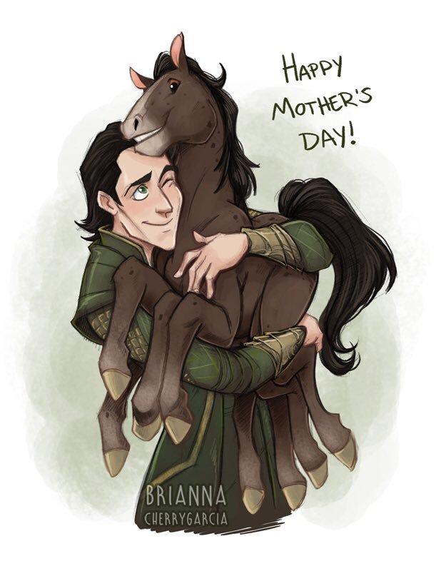 "A cartoon of Loki holding Sleipnir the eight-legged horse, with the caption ""Happy Mother's Day."""
