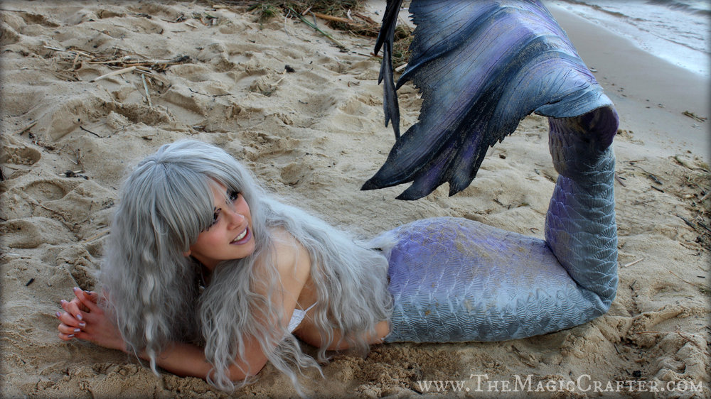 By the time our photo session was over, I was one dirty mermaid (and half frozen too)! My hair was full of beach debris, my tail was covered in sand, and I had random things speckled all over my body! If you look close enough, you may or may not see a stick hanging off of my fabulous wig... Hahaha! It was a good day.