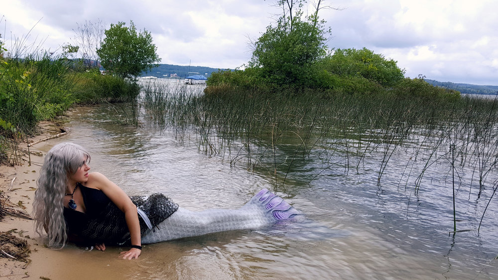 A photo taken of me (Mermaid Phantom) after my first swim in Lake Leelanau. We didn't get any video footage from the swim that day, but my dad did manage to snap this cool picture!