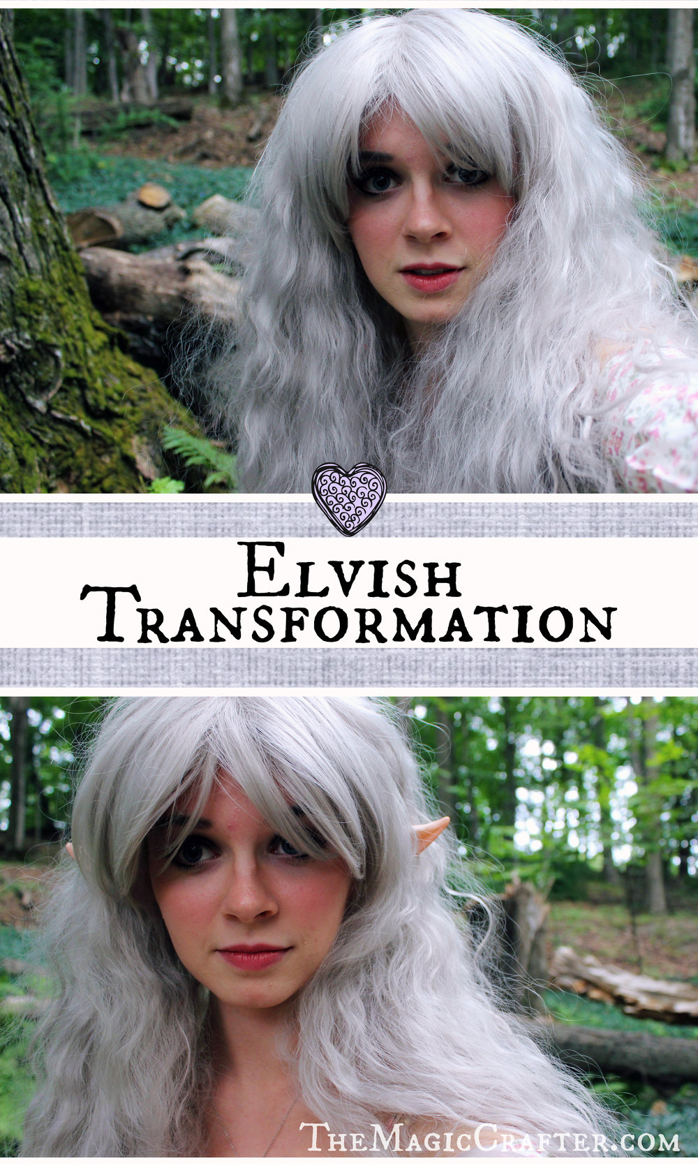 Elven Transformation: How to Become an Elf- This is a picture of Phantom, a Professional Mermaid who sometimes moonlights as a wingless fairy or an elf. The picture shown is part of her blog post, from TheMagicCrafter.com, that will tell you how she transformed into a fairytale creature.