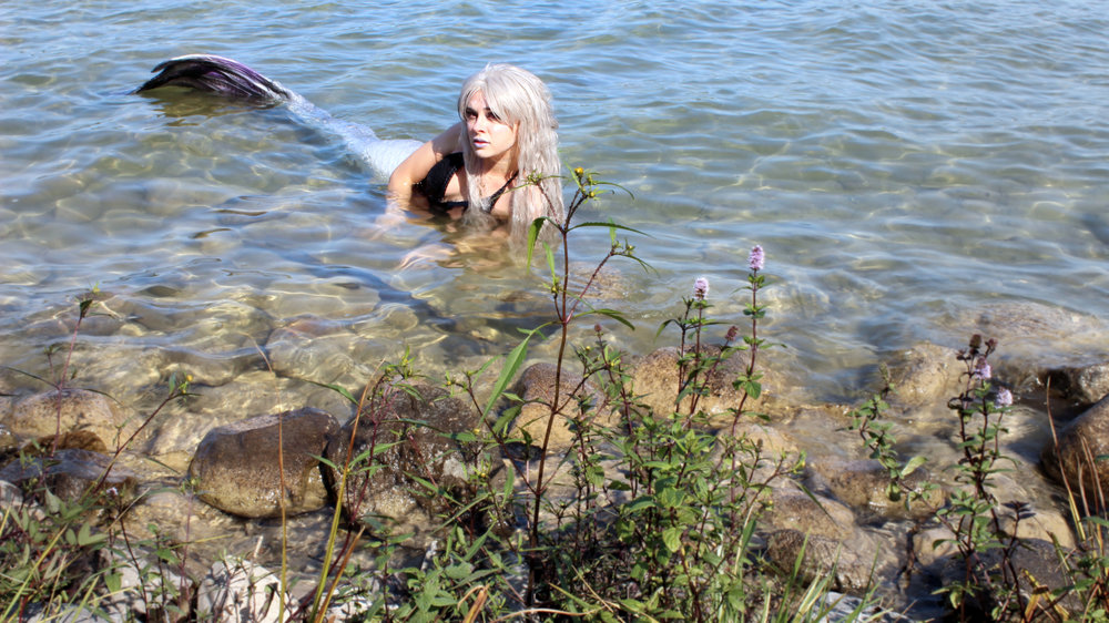A mermaid was spotted! She was hiding near the weeds in a small freshwater lake. She must not be afraid of people!