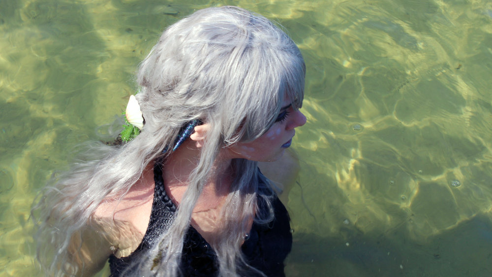 "Mermaid Phantom from  The Magic Crafter  is wearing her ""Sea Elf"" prosthetic ears by Aradani Costumes. Do you like how they look? I think they're very fitting for a professional mermaid!"
