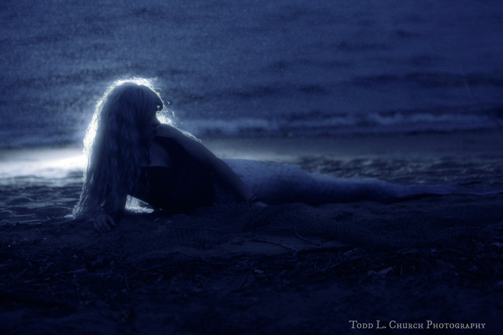 A real live mermaid was found bathing in the moonlight on a cool, rainy night. Photo by: Todd L. Church Photography, Model: Mermaid Phantom of www.themagiccrafter.com