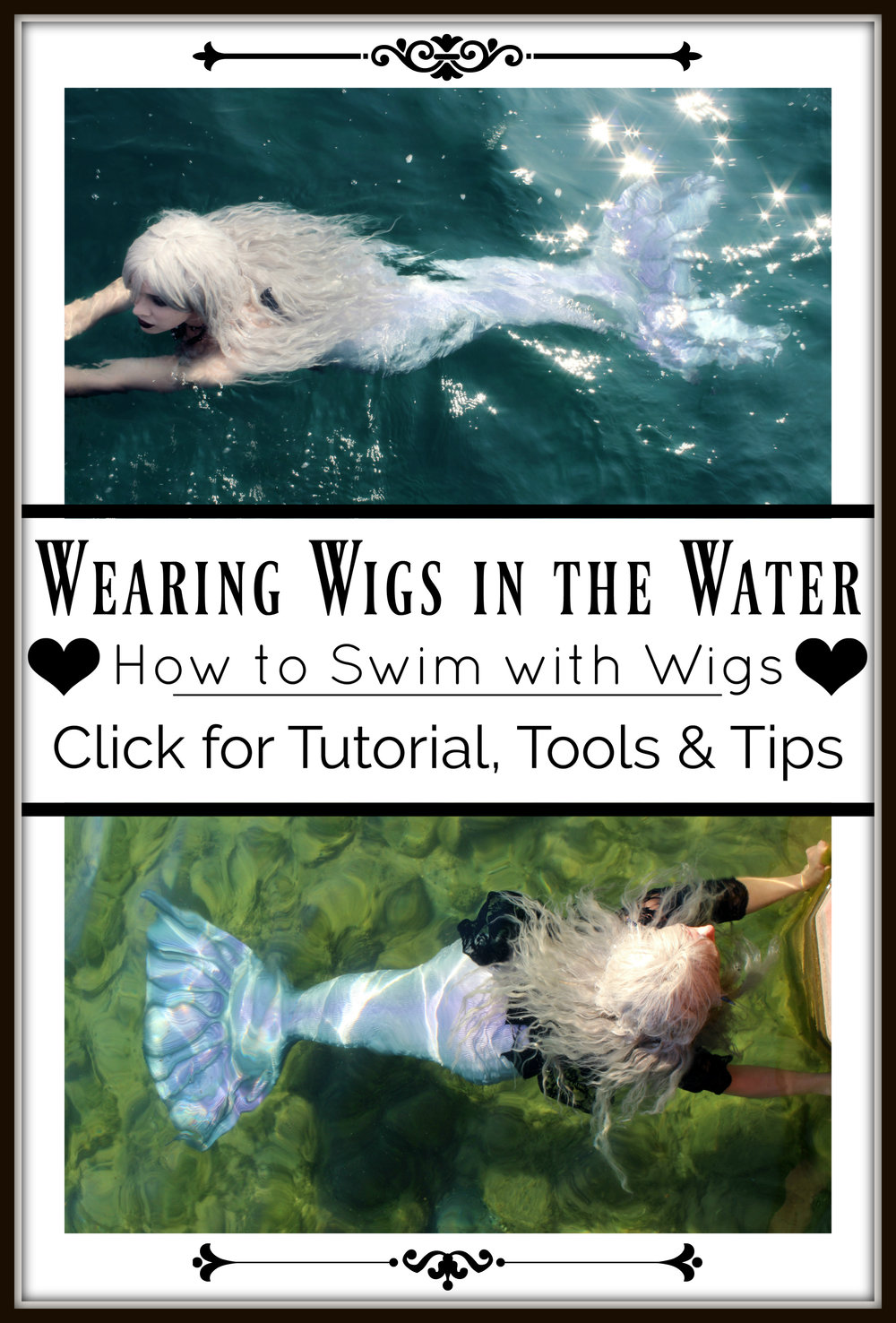 How to Wear Wigs in the Water: Swimming underwater with wigs- Here is a blog post providing tips, tools & a tutorial for cosplayers and Professional Mermaids that want to swim with synthetic hair. CLICK to learn more. ♥