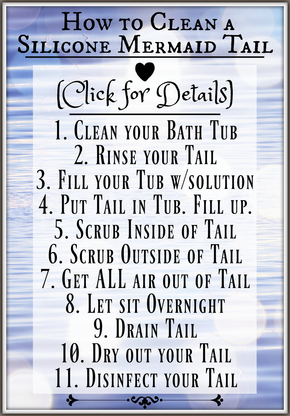 How to Clean a Silicone Mermaid Tail: Mermaid Tail Cleaning & Drying Tutorial for Professional Mermaids. How do you clean a silicone mermaid tail? Find video tutorials here, along with links to ALL of the products and tools you need to wash your tail.