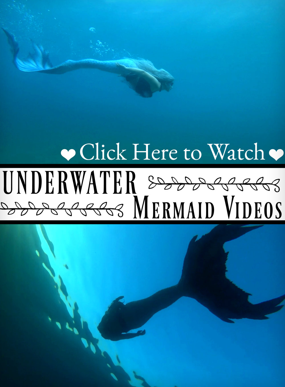 Underwater Mermaid Videos: Videos of mermaids swimming underwater ♥ CLICK HERE ♥ to watch videos of Mermaid Phantom and her friends swimming around in Lake Michigan and (potentially) other locations around the world. New underwater videos are released monthly, and new Fairy Tale/mermaid themed tutorials, crafts and swimming videos are posted weekly. Make sure to subscribe to The Magic Crafter so that you don't miss a video! It's all free! ♥