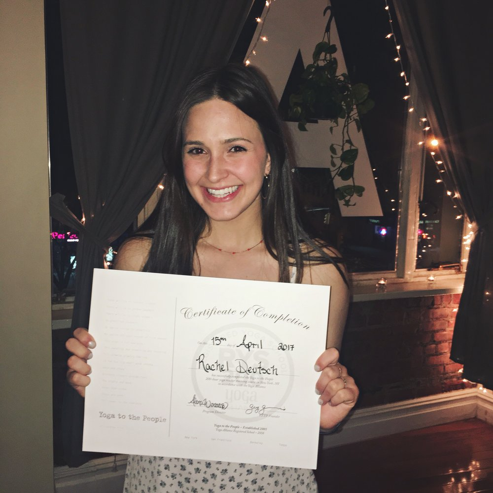 Certified Yoga Teacher - - April 2017 -After 10 weeks, 200 hours, and a life-time of breathing Rachel is a certified yoga teacher! She is thankful for the journey and can't wait to see where the road ahead leads. It's all about the process. Rachel will continue to practice and teach always.
