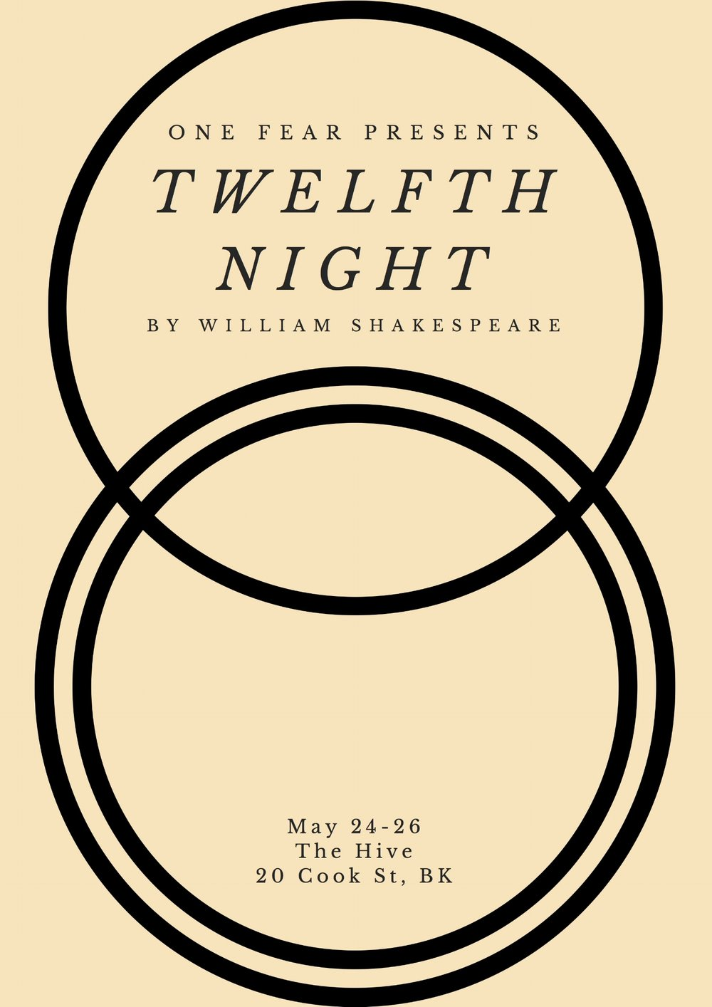 Twelfth Night - - May 24 - 26, 2018 -One Fear Presents their second show of the season, Twelfth Night. Rachel will be playing Valentine and Antonio in the company's spring production!