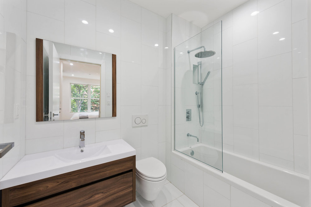 Pristine, white bathroom