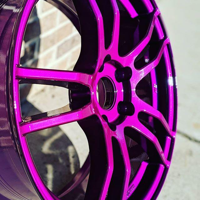 Close up's of a sweet looking @Enkei wheel coated in illusion violet. #enkei #illusionviolet #customwheels #rockford