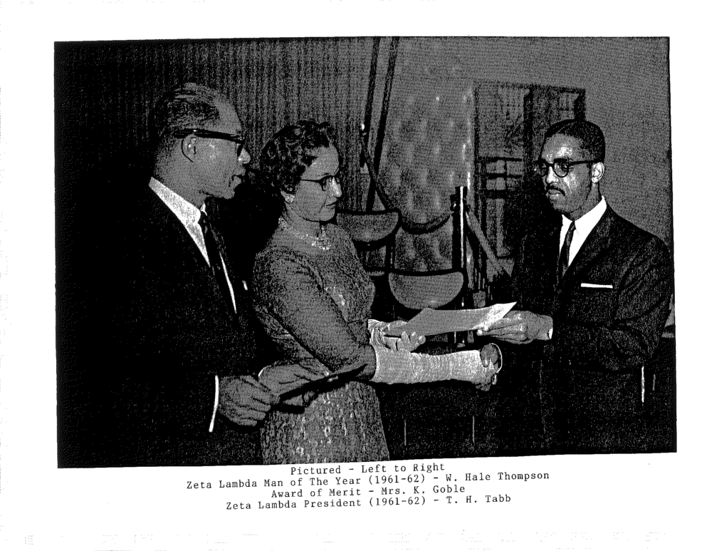 Zeta Lambda 1962 - Bro. Hale Thompson, Mrs. K. Goble, ZL Man of the Year and Award of Merit-1.png