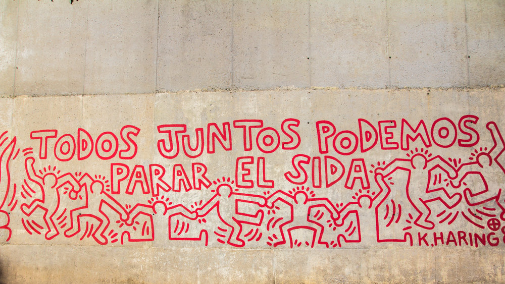 This is the most famous mural we have seen, an original work by Keith Haring done on the streets of Barcelona in 1989.