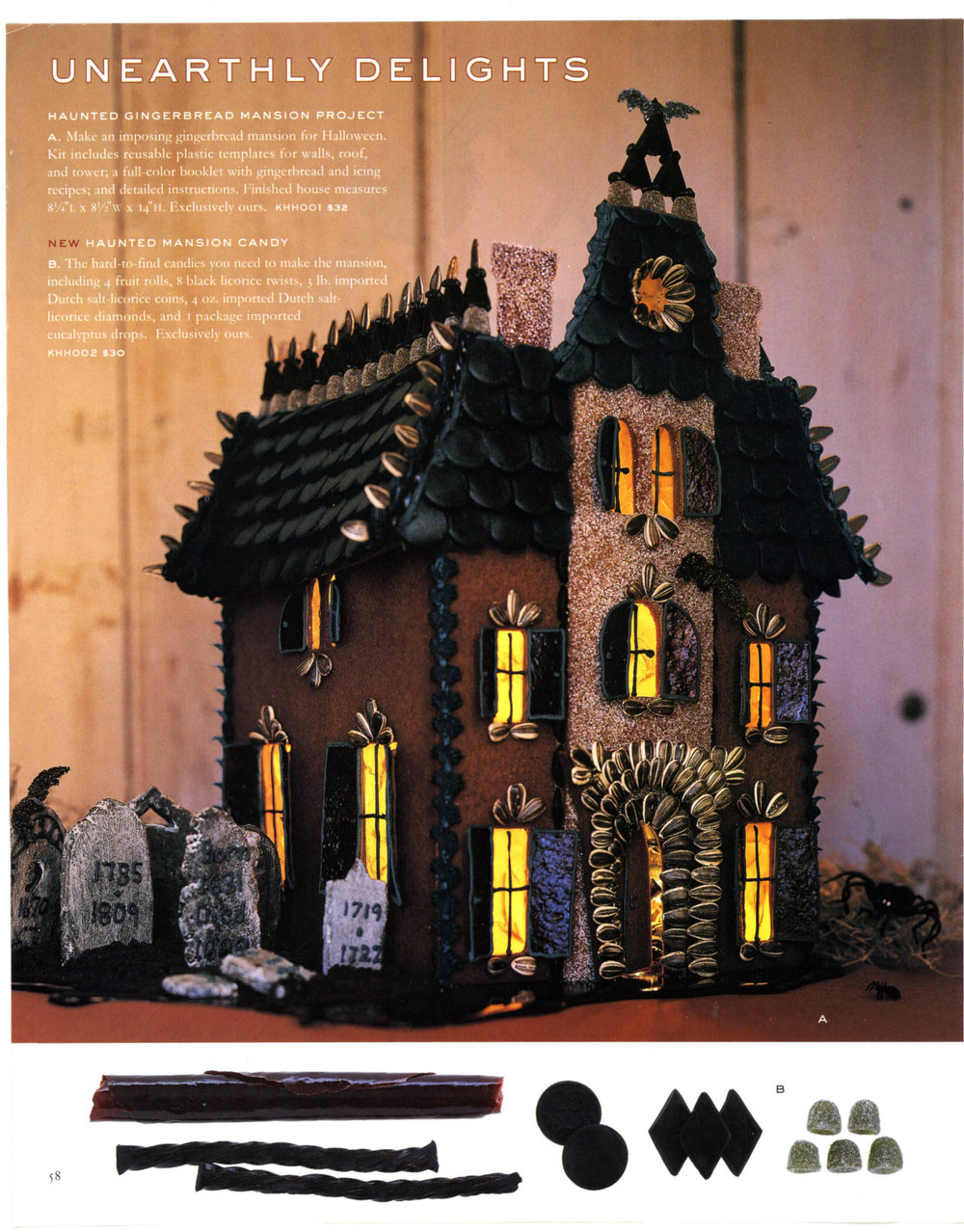 spooky gingerbread house kit for Martha Stewart