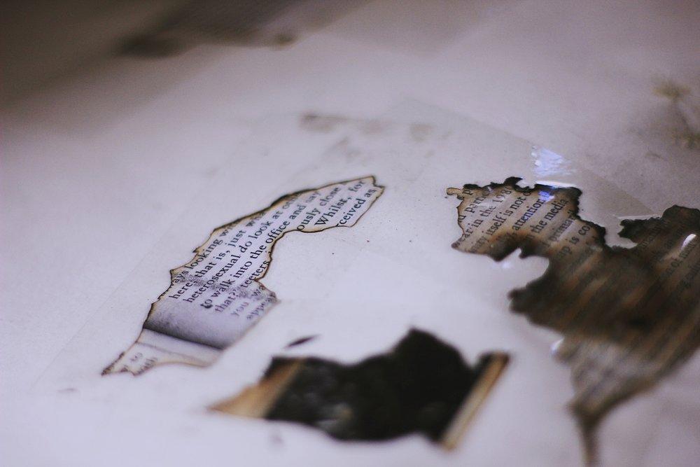 composição   com  fragmentos de folhas queimadas de livros, cinzas e fita colante transparente / compositions using as raw materials fragments from the burnt pages of books, ashes and transparent tap...