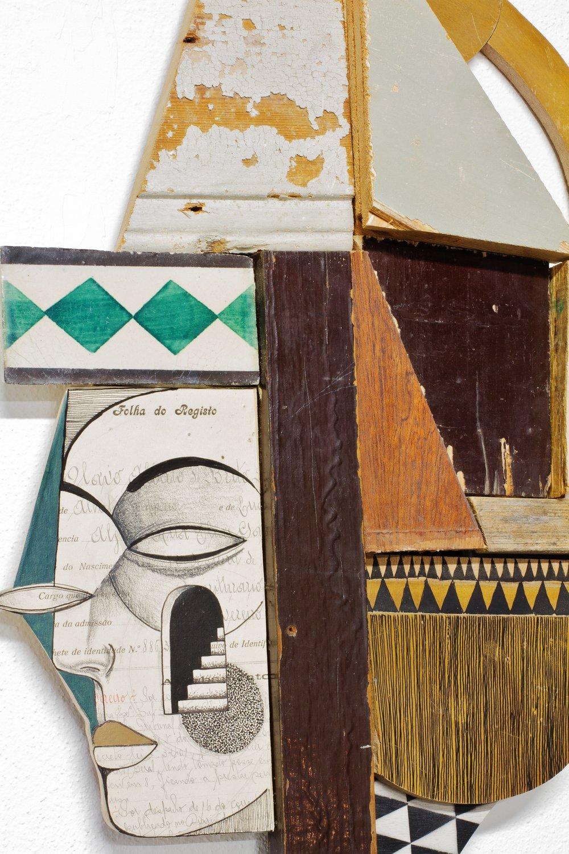 detail: antique paper, antique tiles and reclaimed wood assemblage | image: Marcelo Duarte @graphosbrasil