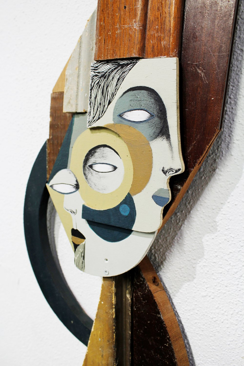 detail: acrylic and reclaimed wood assemblage