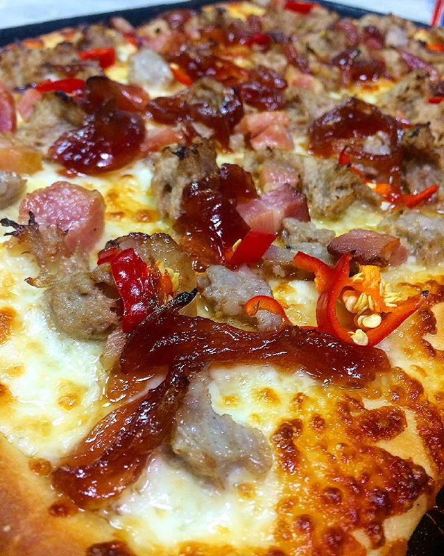 SQUARE CITY SEVERE WEATHER WARNING... 100% CHANCE OF PORKNADO... SWEET SAUSAGE, PULLED PORK, APPLEWOOD SMOKED BACON, PICKLED FRESNO PEPPERS, ONION JAM... SEEK SHELTER IMMEDIATELY AND FOLLOW @sliceshopirv FOR FURTHER UPDATES 🍕🍕🍕