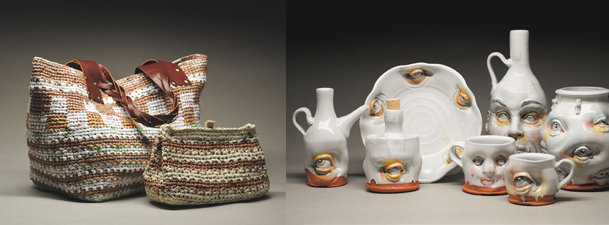 Niki Thommen, Crochet Plastic and Paige Wright, Ceramics Face Wares