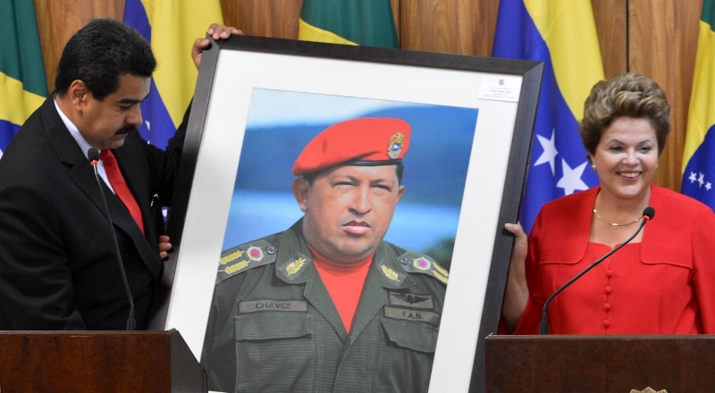 Maduro and Rousseff with a portrait of Chávez