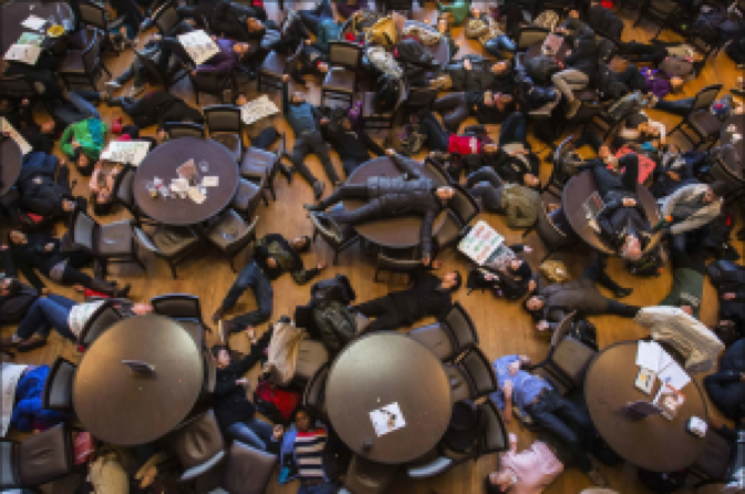 "A ""die-in"" staged at Washington University in St. Louis."