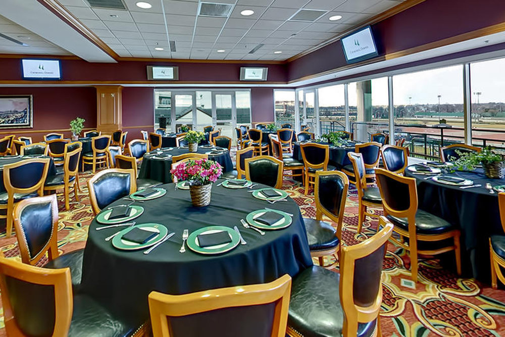 turf club tables and a view of the track