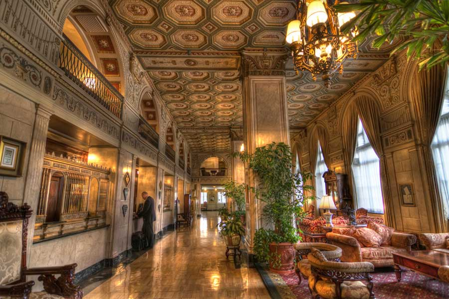 the lobby of the historic brown hotel in downtown louisville