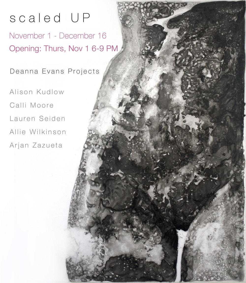 """ Deanna Evans Projects  is excited to announce  scaled UP.  In response to the previous exhibition , SCALE,  which focused solely on small-scale works,  scaled UP  features only large-scale pieces for the very first time in the space. The overall aim is to question how work should be installed and what an apartment gallery can show.  This show takes full advantage of every inch of wall space, even some ceiling space, which encourages the viewer to be fully immersed in the exhibition. Placing large-scale works in a small domestic space leads to conflict of understanding. Is this a commercial space? Private space? Or the ever-expanding hybrid space? Overall, this exhibition is designed to throw out some of the unwritten rules related to what can be shown in small space and what is considered a gallery."""