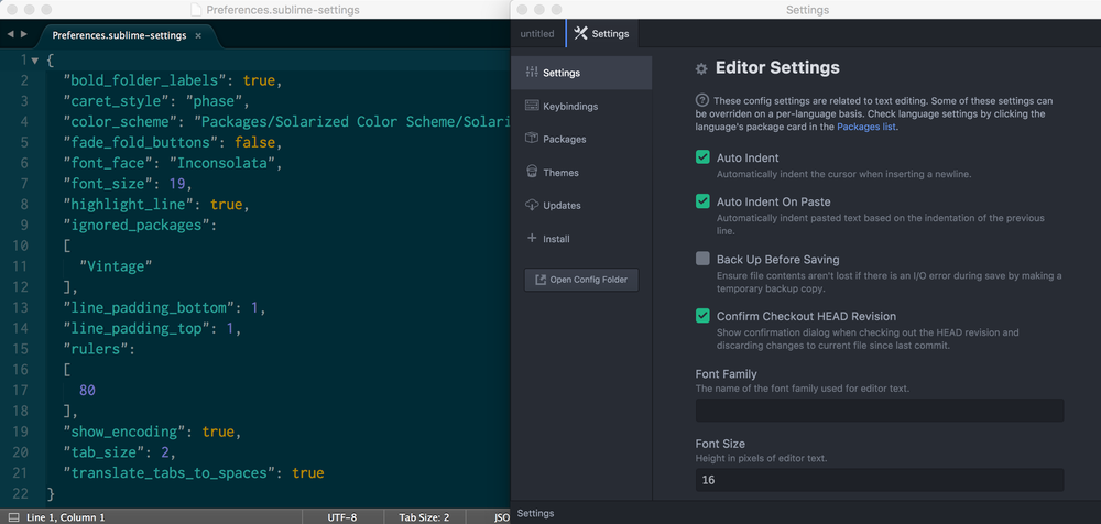 Sublime and Atom settings side by side for comparison