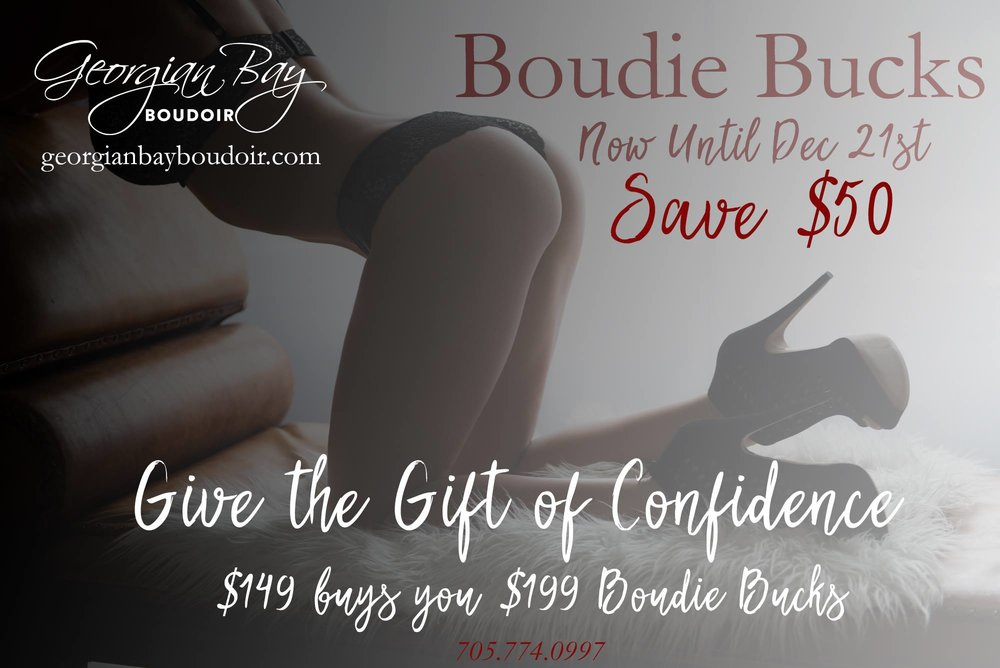 Give the Gift of Confidence!  Georgian Bay Boudoir gives you the opportunity to show your confidence and beauty through the eye of the camera. A treasured gift of a lifetime.