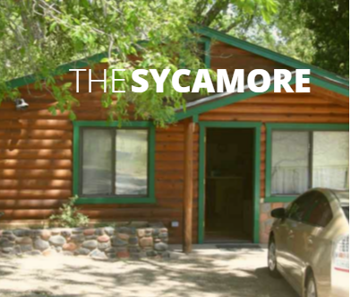 The Sycamore is approximately 600 square feet with 2 bedrooms.  There is a living area, dining counter, full kitchen, and full bath. Kitchen includes full sized fridge, full sized range/oven, dishes, utensils, a coffee maker, and microwave.  The patio has furniture seating 6, gas grill, and a campfire spot.  Sleeping arrangements include a queen, bunk bed, and sleeper sofa.