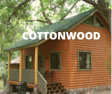 The Cottonwood is approximately 500 square feet with 1 enclosed bedroom and 1 open loft.  The kitchen comes stocked with a full sized fridge, two burner stove top (no oven), dishes, utensils, a coffee maker, and microwave.  The downstairs bedroom has a queen bed, and the loft bedroom has a double bed, twin bed and 1 sleeping floor mat.