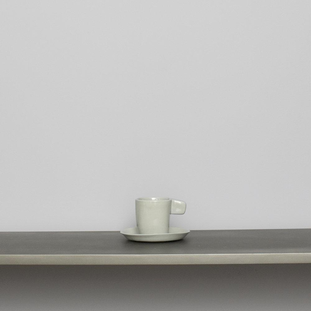 Light Gray Espresso Cup w Saucer