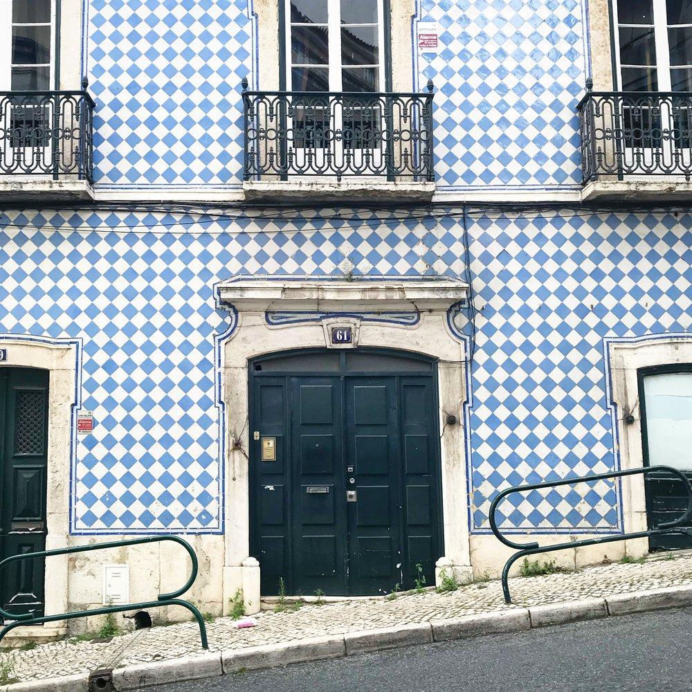 The Tiled Azulejo Lisbon Blue Buildings