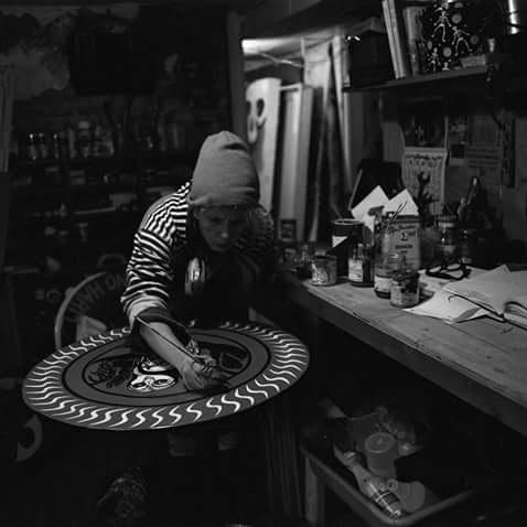 Gina Favano - PRONOUNS: She/HerMEDIUMS: Enamel paint on wood, Mixed-media on canvasWEBSITES: Website - InstagramPhoto Credit: Garrett Jones