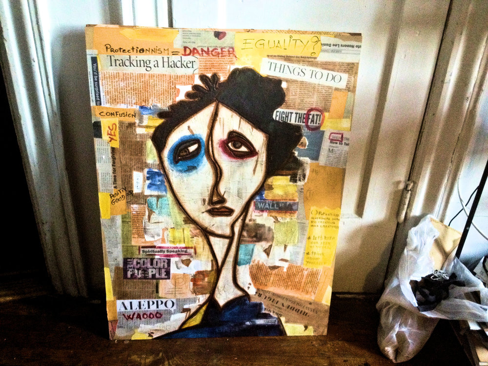 From New York studio, utilizing mixed media and collage techniques